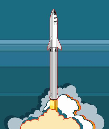 Rocket spaceship launching vector retro style illustration. Vector cartoon spaceship isolated for web, postcard, poster, print, banner.