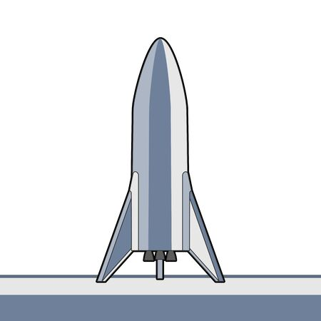 Rocket spaceship isolated vector retro style illustration. Vector cartoon spaceship isolated on white background for web, postcard, poster, print, banner.