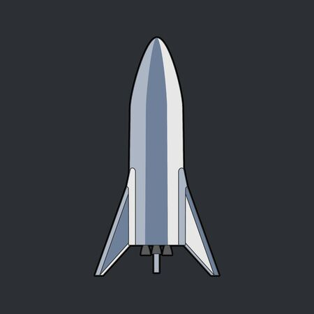 Rocket spaceship isolated vector retro style illustration. Vector cartoon spaceship isolated on dark black background for web, postcard, poster, print, banner.