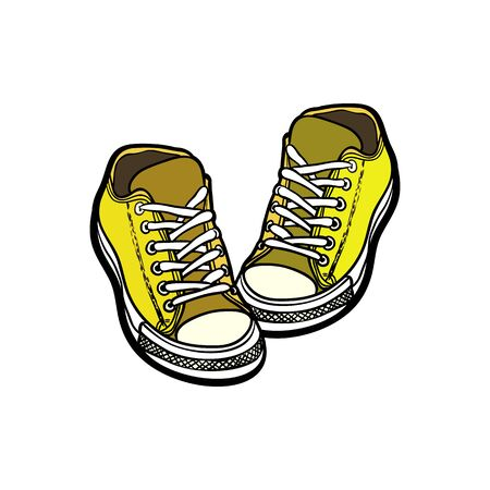 Sneakers shoes pair isolated. Hand drawn vector illustration of yellow shoes. Sport boots hand drawn for logo, poster, postcard, fashion booklet, flyer. Vector sketch sneakers. Yellow shoes. Logo