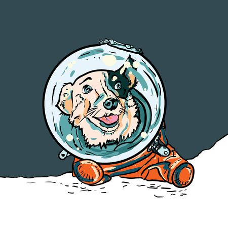 Vector poster with hand drawn dog in space suite. Funny puppy in orange jumpsuit for postcard, flyer of International Day of Human Space Flight. Belka first dog in space. World Cosmonautics Day poster