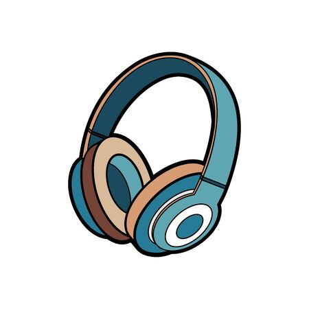 Headphones wireless blue vector isolated. Youth fashion hipster cool headphones illustration in minimalist style for logo, sign, poster, postcard, fashion booklet, flyer. Music headphones logo outline Logo
