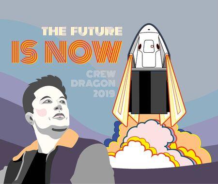 Fusée, vecteur de vaisseau spatial. Mars 2019, 2 lancements de fusées. Vaisseau spatial d'affiche de vecteur, Elon Musk, flamme, fond bleu rose de vapeur. Affiche de l'espace vertical. Illustration de style rétro d'art de dessin animé de vaisseau spatial
