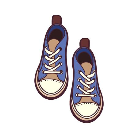 Sneakers shoes pair isolated. Hand drawn vector illustration of blue and brown shoes. Sport boots hand drawn for logo, poster, postcard, fashion booklet, flyer. Vector sketch sneakers. Blue shoes. Logo