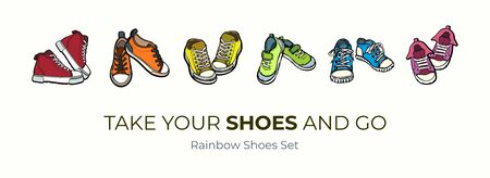 Sneakers shoes pairs isolated. Hand drawn vector illustration set of colored shoes. Sport boots hand drawn for logo, poster, postcard, fashion booklet, flyer. Vector sketch sneakers. Rainbow shoes set Logo
