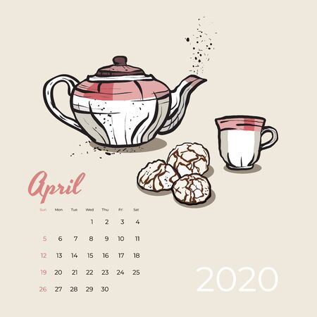 2020 April calendar food and tea art vector. Tea party sketched calendar. April page with pink teapot, cup, cookies hand drawn vector illustration for tea, coffee shop, restaurant 04, 2020 template.