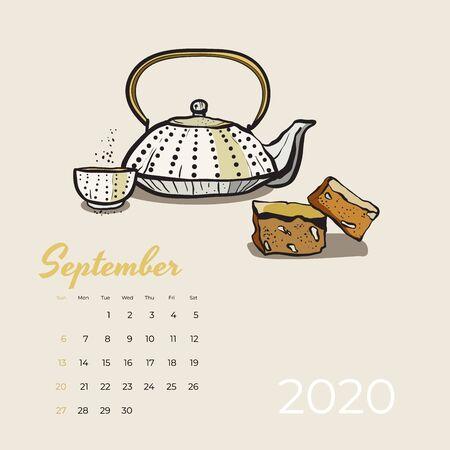 2020 September calendar food and tea art vector. Tea party sketched calendar. September page teapot, cup, cake chunks hand drawn vector illustration for tea, coffee shop, restaurant 09, 2020 template.