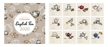 2020 calendar food and tea art vector set. Tea party sketched calendar. Set 12 month pages. Teapots, cups, cookies hand drawn vector illustration for tea, coffee shop, restaurant months 2020 template.