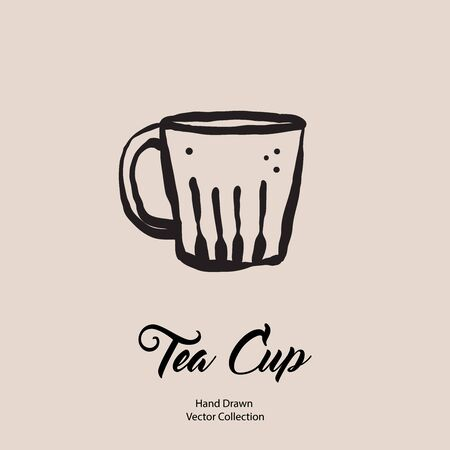 Tea cup hand drawn vector illustration in old style. Vector line illustration of isolated mug for cafe menu, logo, banner, flayer in retro hand drawn style. Tea cup logo for coffee shop, restaurant.