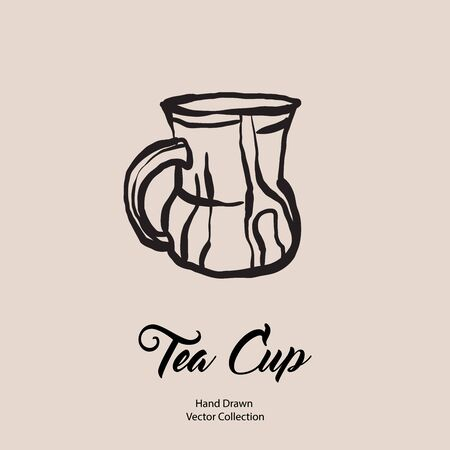Tea cup hand drawn vector illustration in old style. Vector line illustration of isolated mug for cafe menu, logo, banner, flayer in retro hand drawn style. Tea cup logo for coffee shop, restaurant. 向量圖像