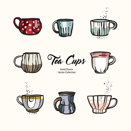 Tea cup hand drawn vector illustration set old style. Vector line illustration of isolated mug for cafe menu, logo, banner, flayer in retro hand drawn style. Tea cup logo for coffee shop, restaurant.