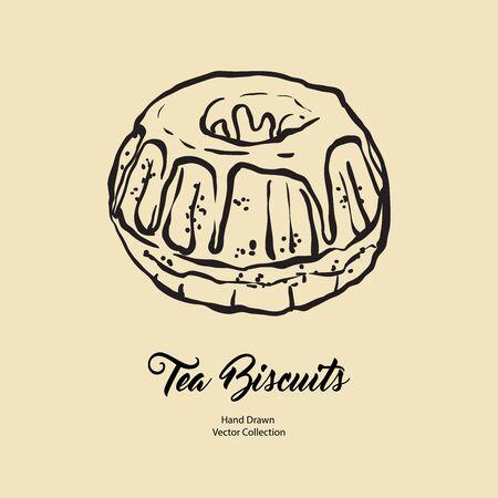 Bundt pound cake gravy isolé à la main vecteur ligne illustration style ancien. Logo de cuisson de tarte aux biscuits au chocolat et au thé de vecteur, conception d'emballage, menu de café, bannière, écorcheur, café rétro dessiné à la main.