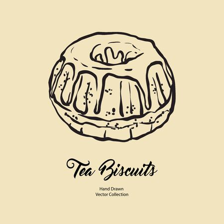 Bundt pound cake gravy isolated hand drawn vector line illustration old style. Vector tea chocolate biscuit pie cooking logo, packaging design, cafe menu, banner, flayer, coffee shop retro hand drawn.