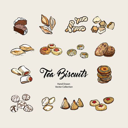 Biscuits isolated hand drawn vector set, line illustration old style. Vector tea biscuits, cookies for cooking logo, packaging design, cafe menu, banner, flayer, coffee shop in retro hand drawn style. Logo
