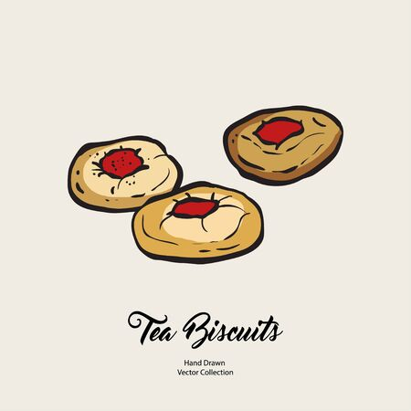 Jam doughnuts isolated hand drawn vector line illustration old style. Vector tea biscuits, cookies for cooking logo, packaging design, cafe menu, banner, flayer, coffee shop in retro hand drawn style.