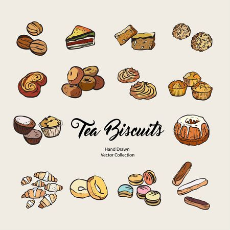 Biscuits isolated hand drawn vector set, line illustration old style. Vector tea biscuits, cookies for cooking logo, packaging design, cafe menu, banner, flayer, coffee shop in retro hand drawn style.