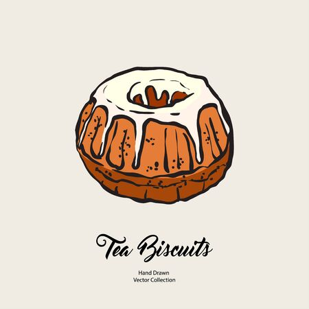 Bundt pound cake gravy isolated hand drawn vector line illustration old style. Vector tea chocolate biscuit pie cooking logo, packaging design, cafe menu, banner, flayer, coffee shop retro hand drawn. Logo