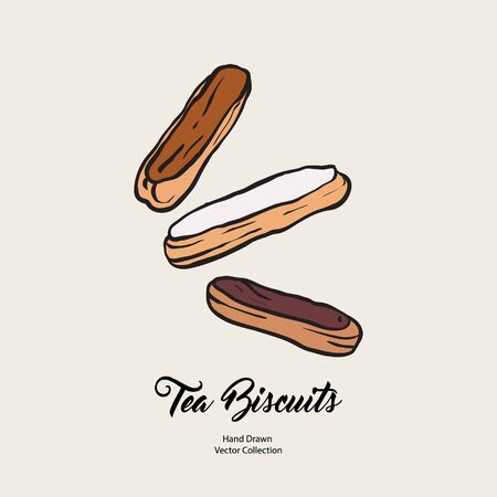 Chocolate eclairs isolated hand drawn vector line illustration old style. Vector tea biscuits, cookies for cooking logo, packaging design, cafe menu, banner, flayer, coffee shop retro hand drawn style