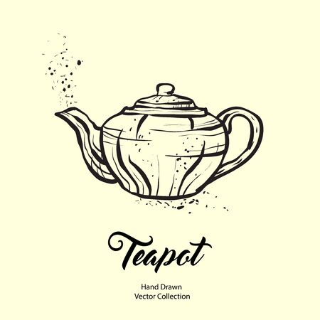 Teapot hand drawn ink vector illustration in old style. Isolated line kettle, illustration for logo, cafe menu, banner, flayer retro hand drawn style. Isolated vector logo for coffee shop, restaurant.