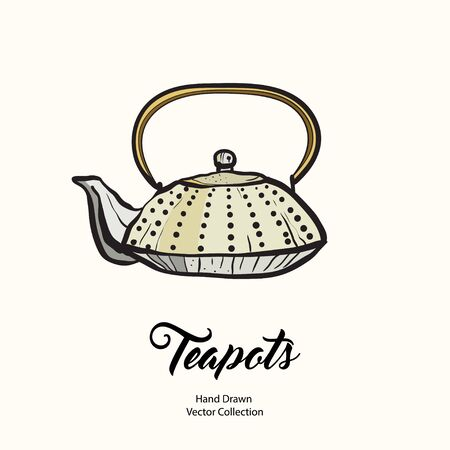 Teapot hand drawn ink vector illustration old style. Isolated line chinese kettle, illustration logo, cafe menu, banner, flayer retro hand drawn style. Isolated vector logo coffee shop, restaurant. 向量圖像