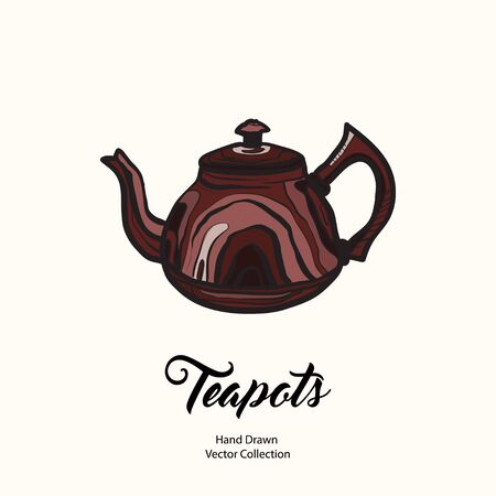 Teapot hand drawn ink vector illustration old style. Isolated line clay brown kettle, illustration logo, cafe menu, banner, flayer retro hand drawn style. Isolated vector logo coffee shop, restaurant. 向量圖像