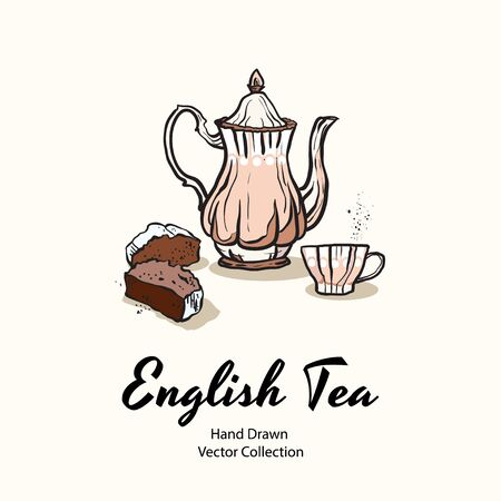 Pink teapot, cup and cupcake hand drawn vector illustration in old style for cafe menu, logo, banner, flayer, coffee shop, sticker, flyer. Tea time illustration. Coffee break graphic. Ink line sketch. Logo