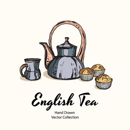 Blue teapot, cup and muffins hand drawn vector illustration in old style for cafe menu, logo, banner, flayer, coffee shop, sticker, flyer. Tea time illustration. Coffee break graphic. Ink line sketch.