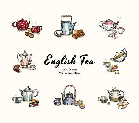 Teapots, cups, cookies hand drawn vector illustration in old style. Vector illustrations set for cafe menu, banner, flayer in retro hand drawn style. Isolated vector logo for coffee shop, restaurant. Illustration