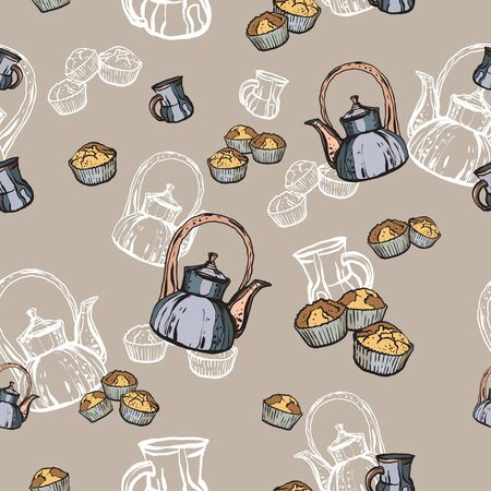 Teapots, cups and cupcakes seamless pattern hand drawn in old style. Tea time vector illustration. Food pattern in retro hand drawn style for cafe menu, banner, flayer coffee shop, restaurant, fabric. Ilustrace