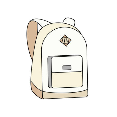 Backpack, bag, rucksack vector white isolated. Youth fashion hipster school boy girl knapsack illustration in minimalist style for sign, poster, postcard, fashion booklet, flyer.