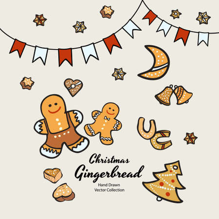 Christmas gingerbread biscuits set hand drawn vector illustration. Vintage traditional bake christmas marzipan glaze biscuits. Isolated vector ginger bread cookies. Christmas baking retro elements. Illustration