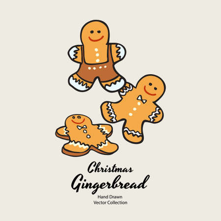 Gingerbread men Christmas biscuits hand drawn vector illustration. Vintage traditional bake christmas marzipan glaze biscuits. Isolated vector ginger bread cookies. Christmas baking retro elements.