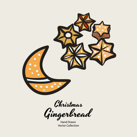 Moon stars christmas gingerbread biscuits drawn vector illustration. Vintage traditional bake christmas marzipan glaze biscuits. Isolated vector ginger bread cookies. Christmas baking retro elements. Illustration