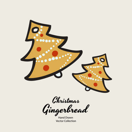 Christmas tree gingerbread biscuits hand drawn vector illustration. Vintage traditional bake christmas marzipan glaze biscuits. Isolated vector ginger bread cookies. Christmas baking retro elements.