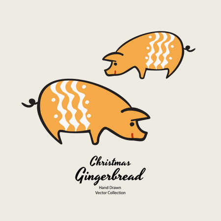 Pigs christmas gingerbread biscuits hand drawn vector illustration. Vintage traditional bake christmas marzipan glaze biscuits. Isolated vector ginger bread cookies. Christmas baking retro elements.