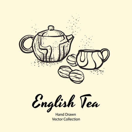 Teapot, cup and biscuits nuts black line hand drawn vector illustration in old style for cafe menu, banner, flayer, coffee shop, sticker, flyer. Black and white tea or coffee time illustration