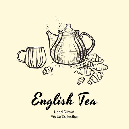 Teapot, cup and croissants black line hand drawn vector illustration in old style for cafe menu, banner, flayer, coffee shop, sticker, flyer. Black and white tea or coffee time illustration