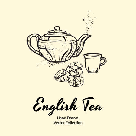 Teapot, cup and biscuits black line hand drawn vector illustration in old style for cafe menu, banner, flayer, coffee shop, sticker, flyer. Black and white tea or coffee time illustration