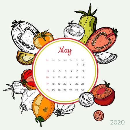 2020 May calendar vegetable. Red tomatoes groceries art vector set. Desk, screen, colorful 2020 calendar template. Organic fresh food hand drawn line illustration. Sketched calendar, day planner.