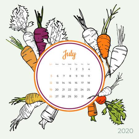 2020 July calendar vegetable. Orange carrot groceries art vector set. Desk, screen, colorful 2020 calendar template. Organic fresh food hand drawn line illustration. Sketched calendar, day planner.
