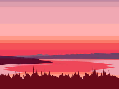 Landscape mountain lake abstract vector. Mountaineering and traveling illustration. Sunset with water, mountains, forest. Landscape vector background. Sports, Vacation, Outdoor Recreation Concept. Illustration