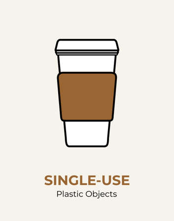 Single-use paper cup with plastic lid. Vector illustration of recycling plastic and paper items. Food plastic packaging flat logo for ecological poster, postcard, banner. Single-use plastic rubbish. 矢量图像