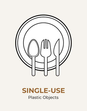 Spoon, fork, knife, plate. Single-use plastic cutlery. Vector illustration set of recycling plastic items. Food plastic cutlery flat logo for ecological poster, pollution environment concept