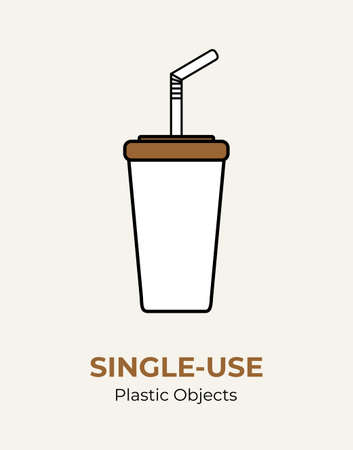 Single-use paper cup with plastic lid and straw. Vector illustration of recycling plastic items. Food plastic packaging flat logo for ecological poster, postcard, banner. Single-use plastic rubbish.