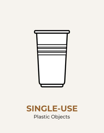 Single-use white plastic cup. Vector illustration of recycling plastic item. Disposable plastic cup. Isolated transparent cup flat logo for ecological poster, postcard, banner. Single-use plastic.