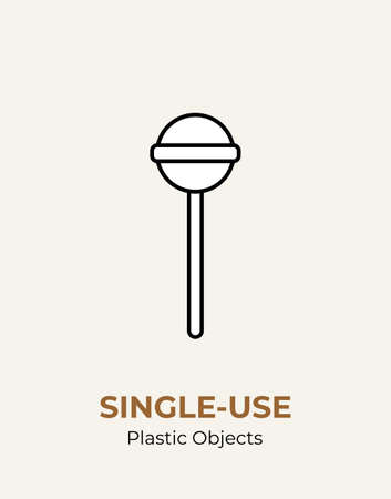 Single-use plastic stick in lollipop. Vector illustration of recycling plastic item. Food plastic stick flat logo for ecological poster, postcard, banner, pollution environment concept.