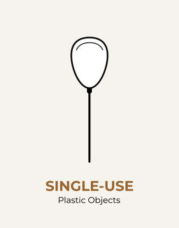 Single-use plastic stick in baloon. Vector illustration of recycling plastic item. Baloon plastic stick flat logo for ecological poster, postcard, banner, pollution environment concept. 矢量图像