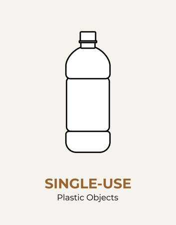 Single-use plastic bottle. Vector illustration of recycling plastic bottle. Isolated transparent bottle. Flat logo for ecological poster, postcard, banner, pollution and environment concept.