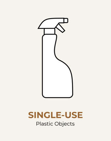 Plastic household chemistry spray bottle. Single-use vector illustration of recycling plastic bottle. Household plastic houseware. Flat logo for ecological poster, pollution and environment concept.