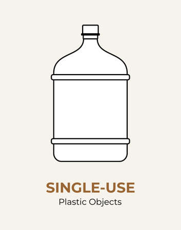 Single-use plastic big bottle. Vector illustration of recycling plastic bottle. Isolated transparent big bottle. Flat logo for ecological poster, postcard, banner, pollution and environment concept.